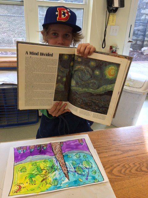Boys shows original Van Gogh in textbook beside his version