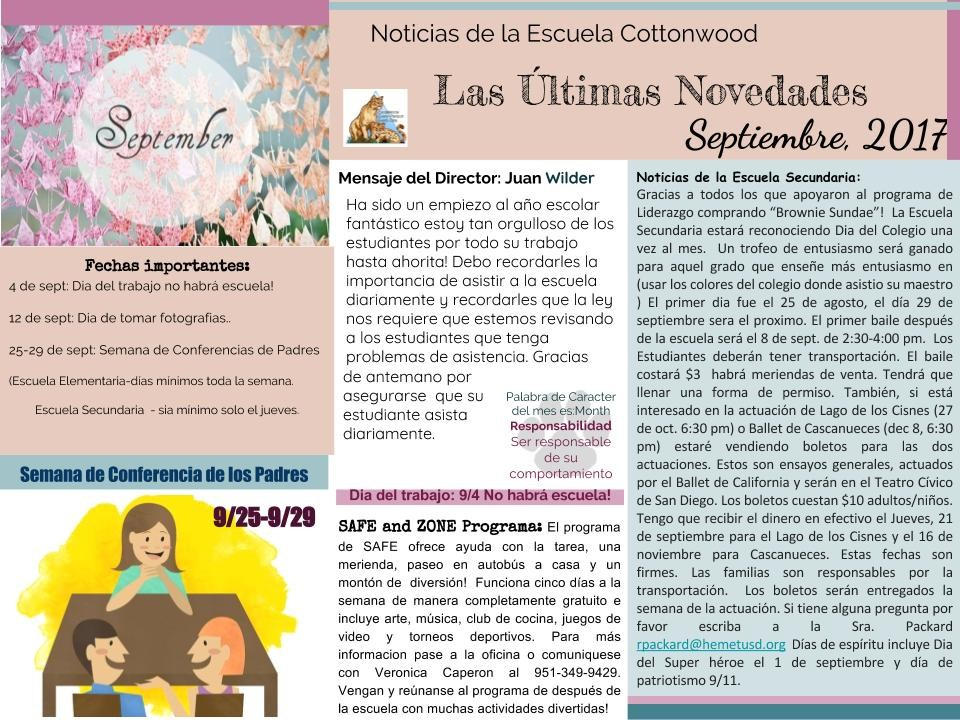 September newsletter in Spanish