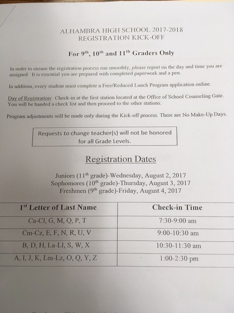 Sophomore Registration, Thursday, August 3, 2017 Thumbnail Image