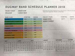 Summer Band Schedule