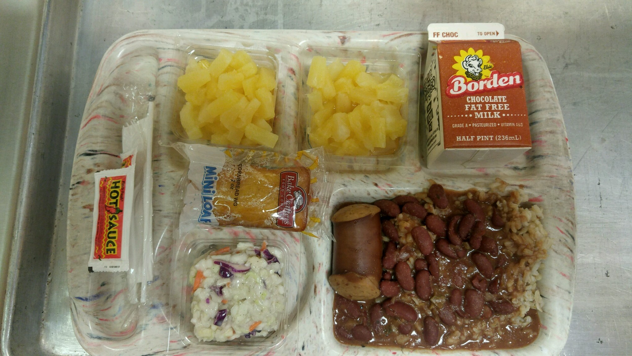 beans and sausage lunch tray