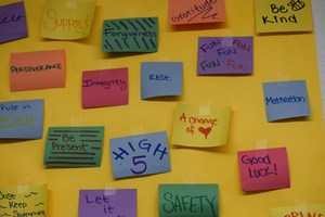 sticky notes with words on them