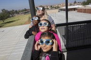 Students viewing the eclipse