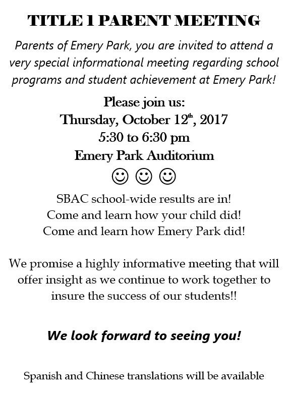 PLEASE ATTEND OUR ANNUAL TITLE 1 MEETING. COME LEARN ABOUT PROGRAMS AND STUDENT ACHIEVEMENT!! Thumbnail Image