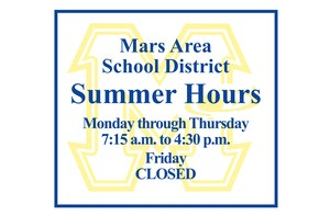 Graphic listing District's Summer Hours