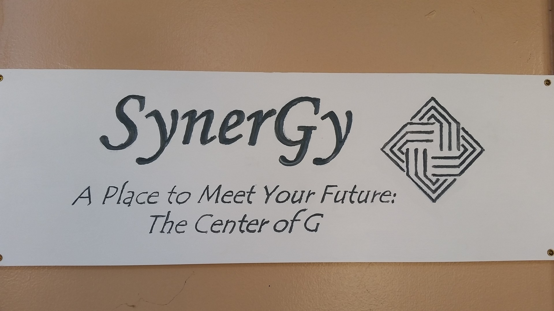 Here is the sign on G building which shows you where SynerGy is located.