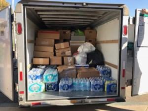 U-Haul with donations.