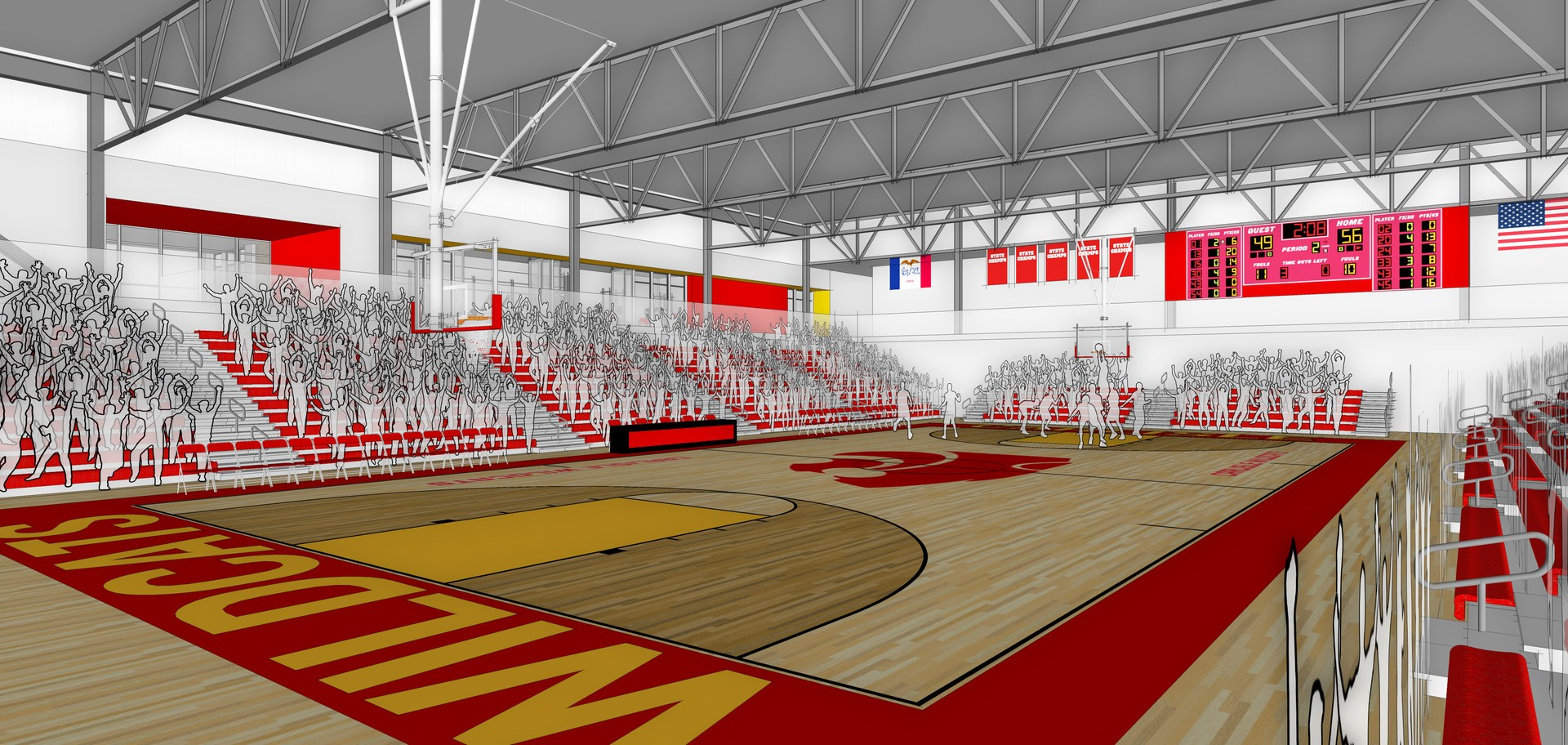 Rendering of Indoor Activities Center - Basketball Court