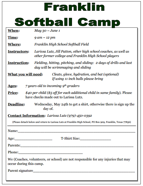 Franklin Softball Camp Information Thumbnail Image