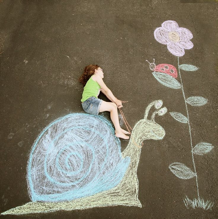 chalk drawing of girl