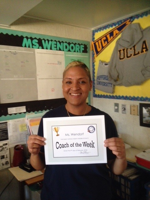 This week's Coach of the Week, Ms. Wendorf! Featured Photo