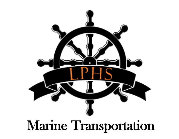 La Porte High School Marine Transportation logo with ship's wheel