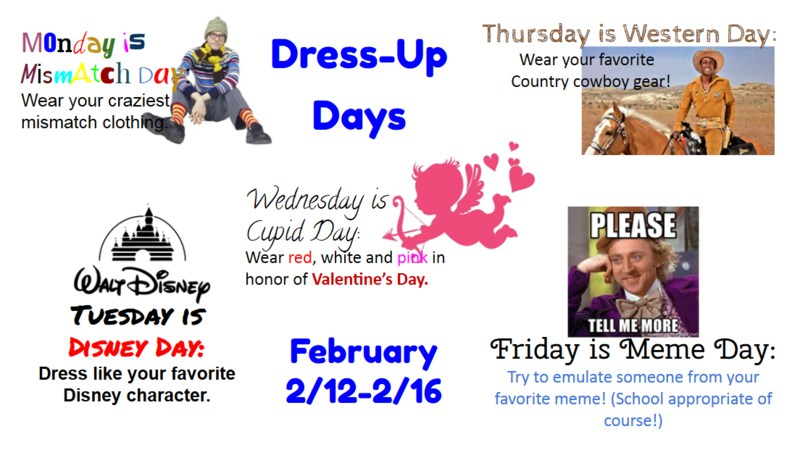 February Dress-up days
