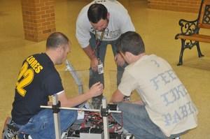 Robotics team at work.