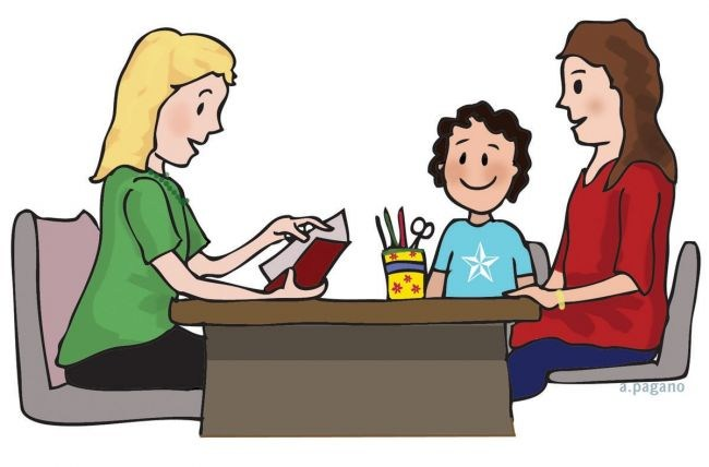 parent and child meeting with educator