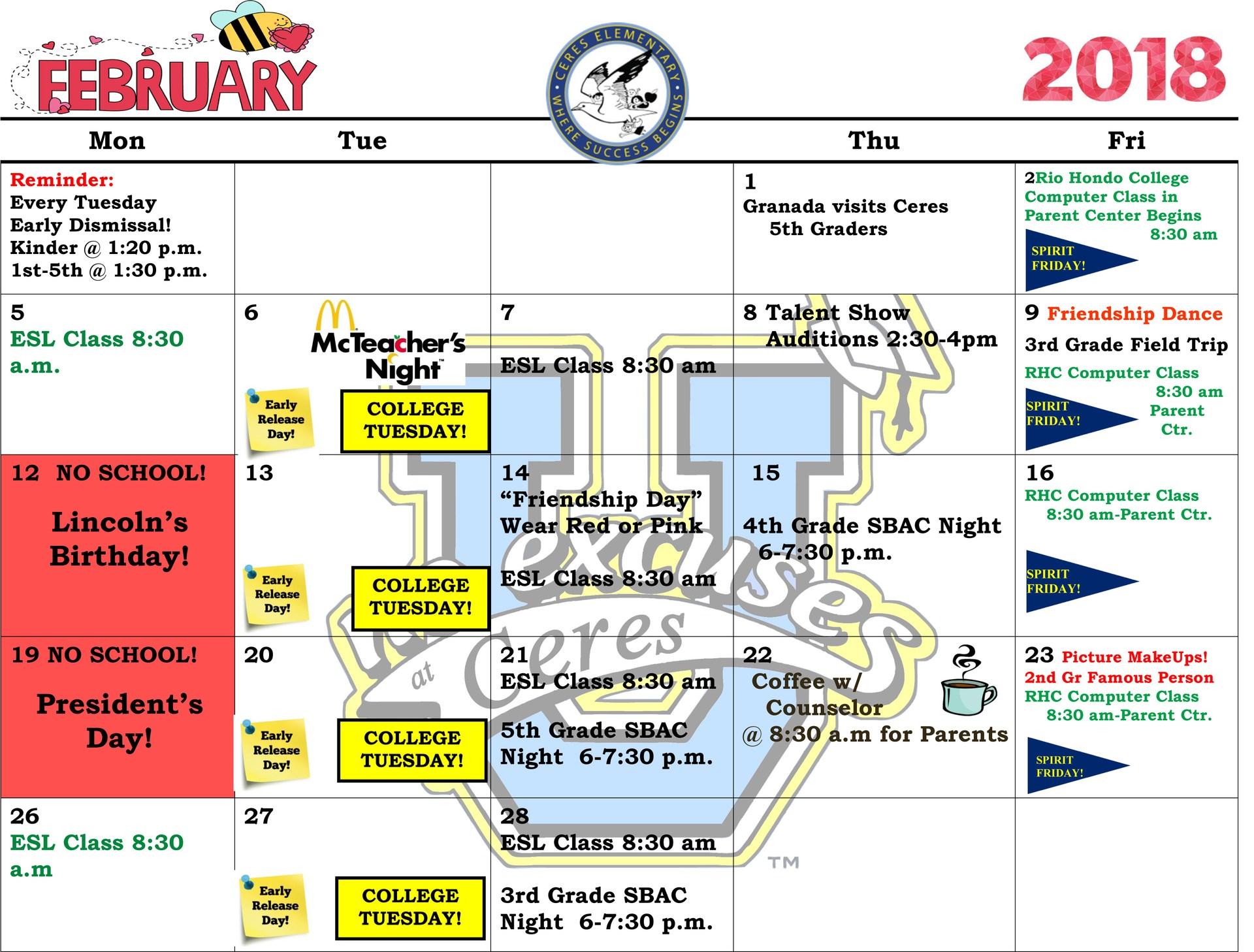 February CALENDAR 2017-18