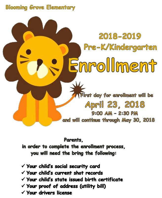 2018-2019 Pre-K/Kindergarten Enrollment Thumbnail Image