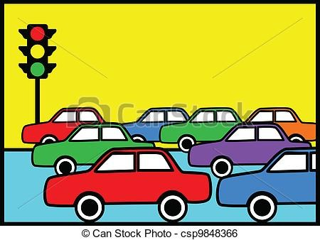 cartoon traffic jam