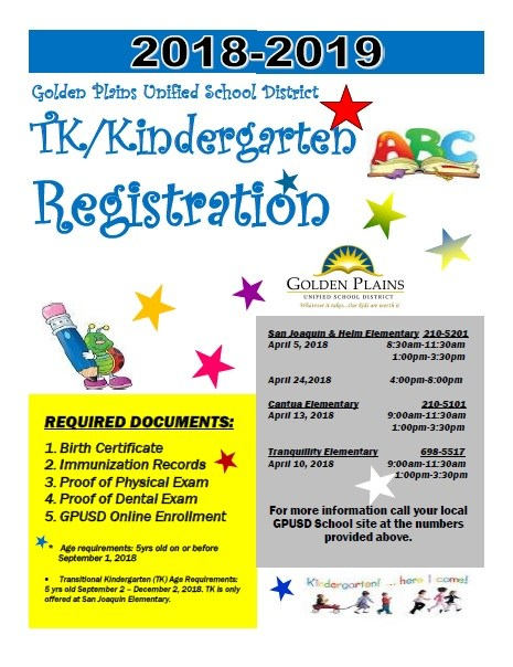 Tk/Kindergarten Registration 2018 Thumbnail Image