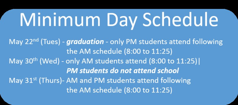 Minimum Day Schedule May