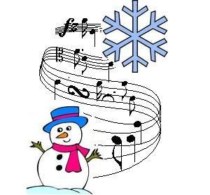 Snowman and musical notes