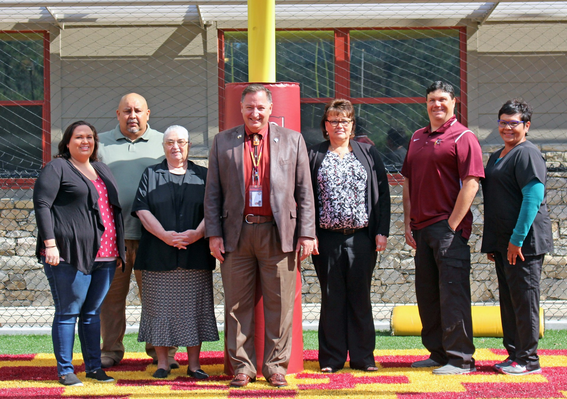 School Board Officials (Left to Right): Jennifer Thompson, Yellowhill; Isaac Long, Wolfetown; Karen French-Browning, Big Cove; Dr. Mike Murray, Superintendent; Gloria Griffin, Birdtown; John Crowe, Big-Y; and Charlotte Saunooke, Painttown.