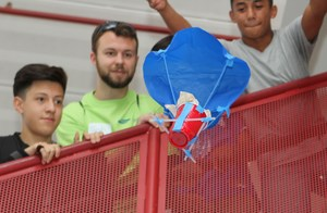 Students work on the egg drop challenge =