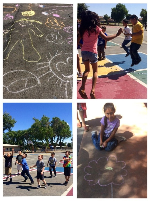 kids playing at recess: helicopter, chalk art, basketball
