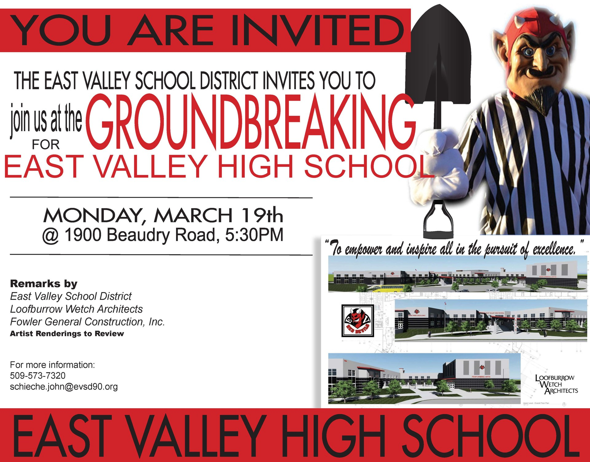 Flyer inviting community members to our ground breaking ceremony on March 19, 2018 at 5:30 in the evening at East Valley High School