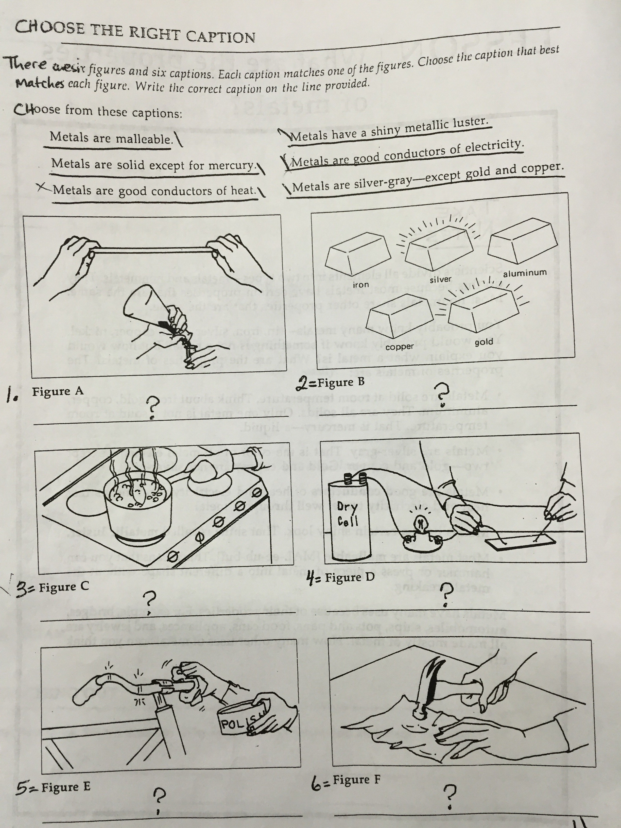 Properties of Metals | Worksheet | Education.com