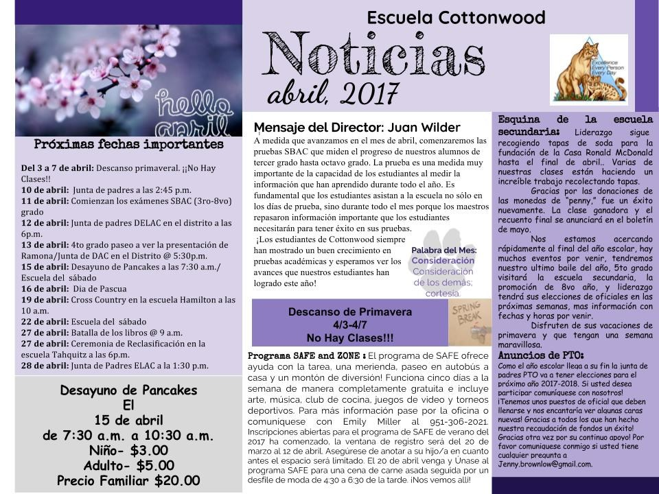 April Newsletter in Spanish