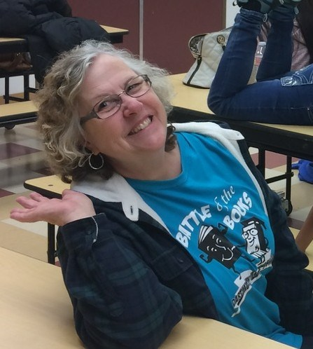 Merri Snow in a Battle of the Books shirt