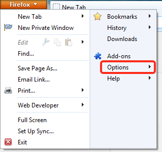 In the Firefox menu select Options