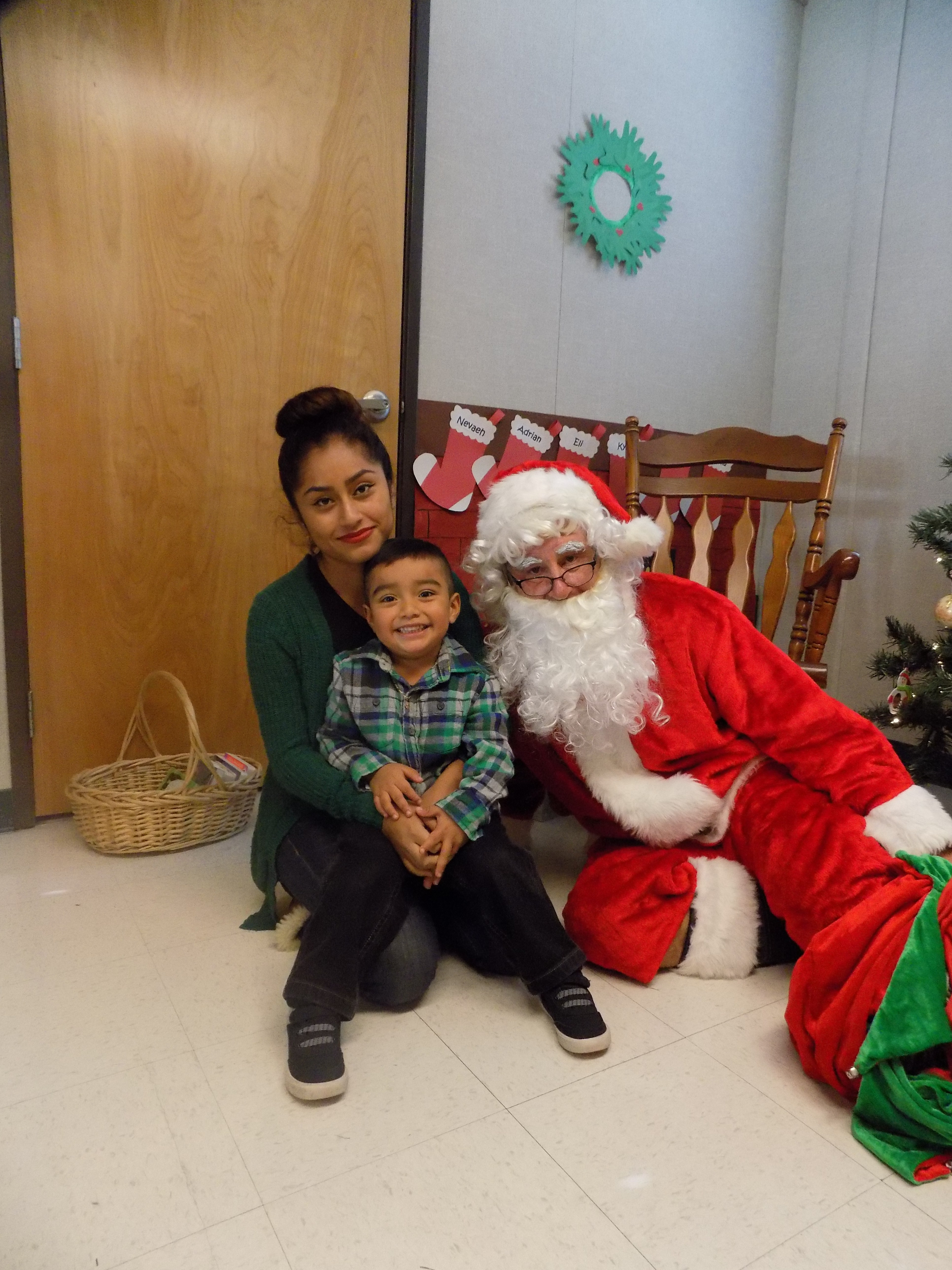 Mother, son with Santa Claus
