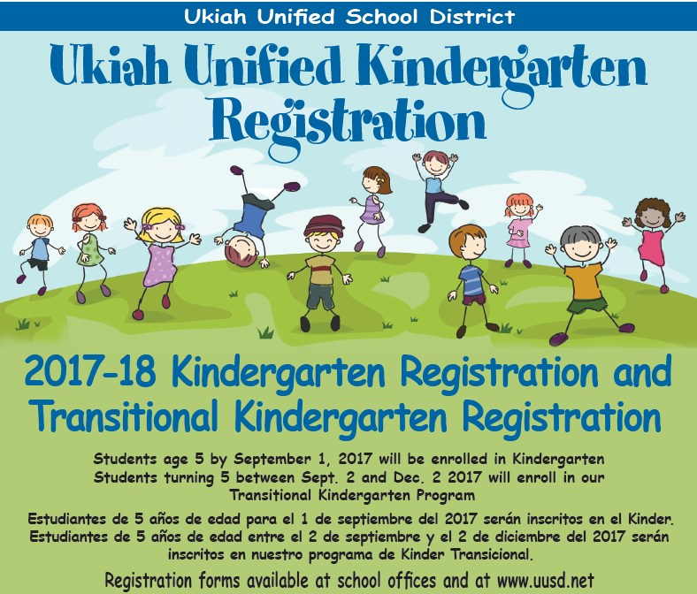 Kindergarten Registration and Transitional Kindergarten Registration 2017-18