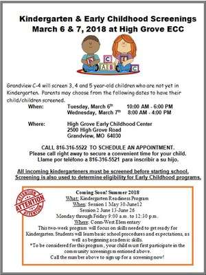 Kindergarten Screening Flyer