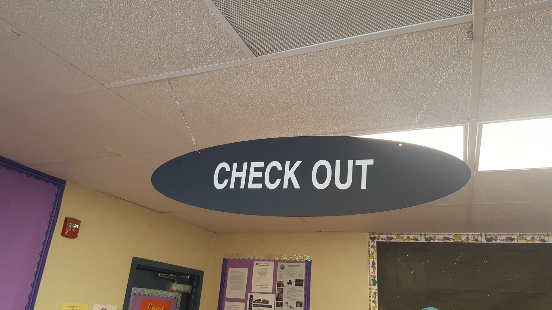 Library checkout sign
