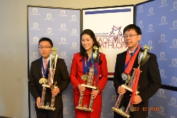 Overall best individual decathletes: (left to right) Chaney Tse (3rd place, Mark Keppel High); Elise Matsusaka (1st place, South Pasadena High); and Douglas Wu (2nd place, Beverly Hills High)