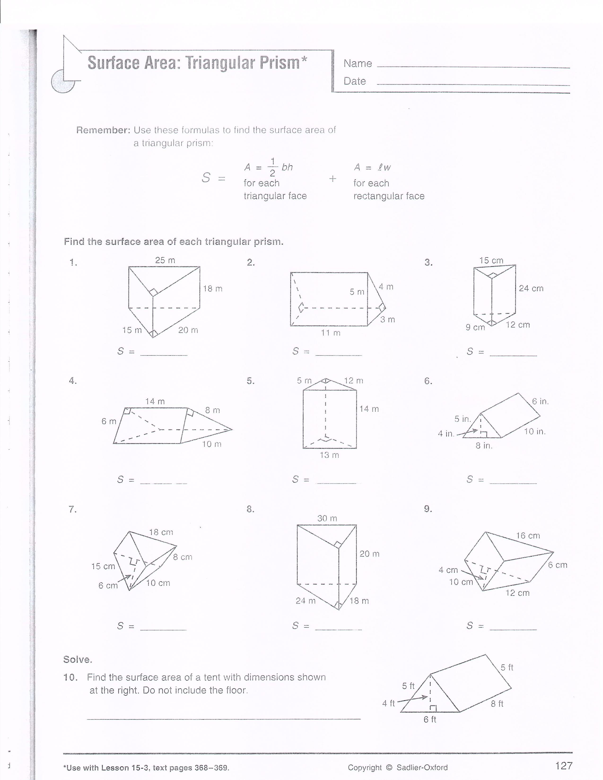 Finding Surface Area Worksheets Solving Linear Equations Worksheet