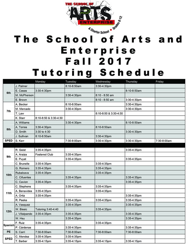 Fall 2017 Tutoring Schedule Featured Photo