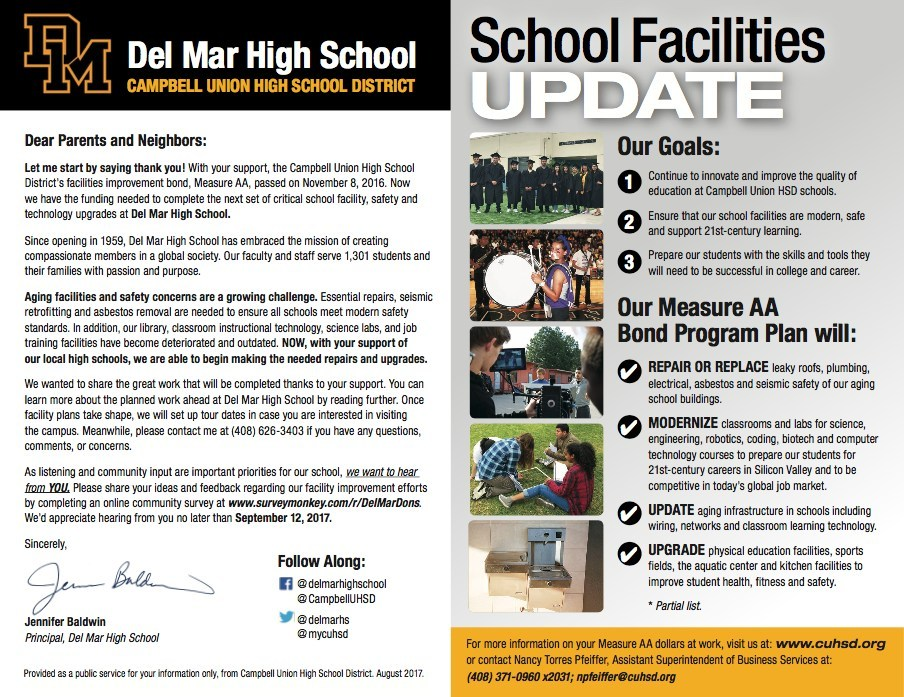 Del Mar High School facility, safety, and technology upgrade mailer