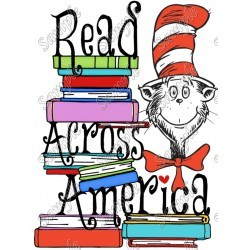 The cat in the hat with a stack of books