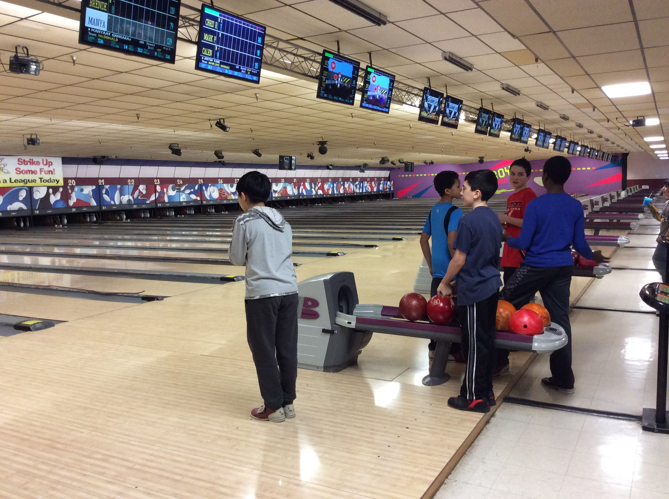 students bowling
