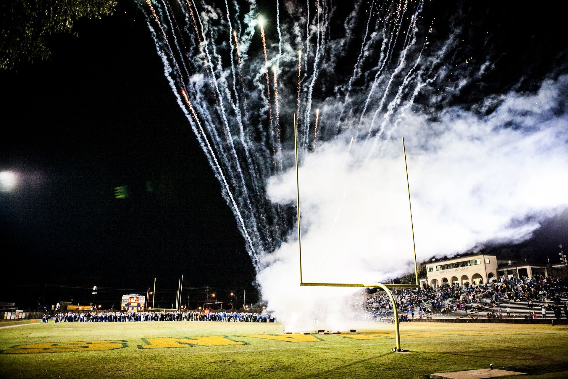 fireworks display on the field