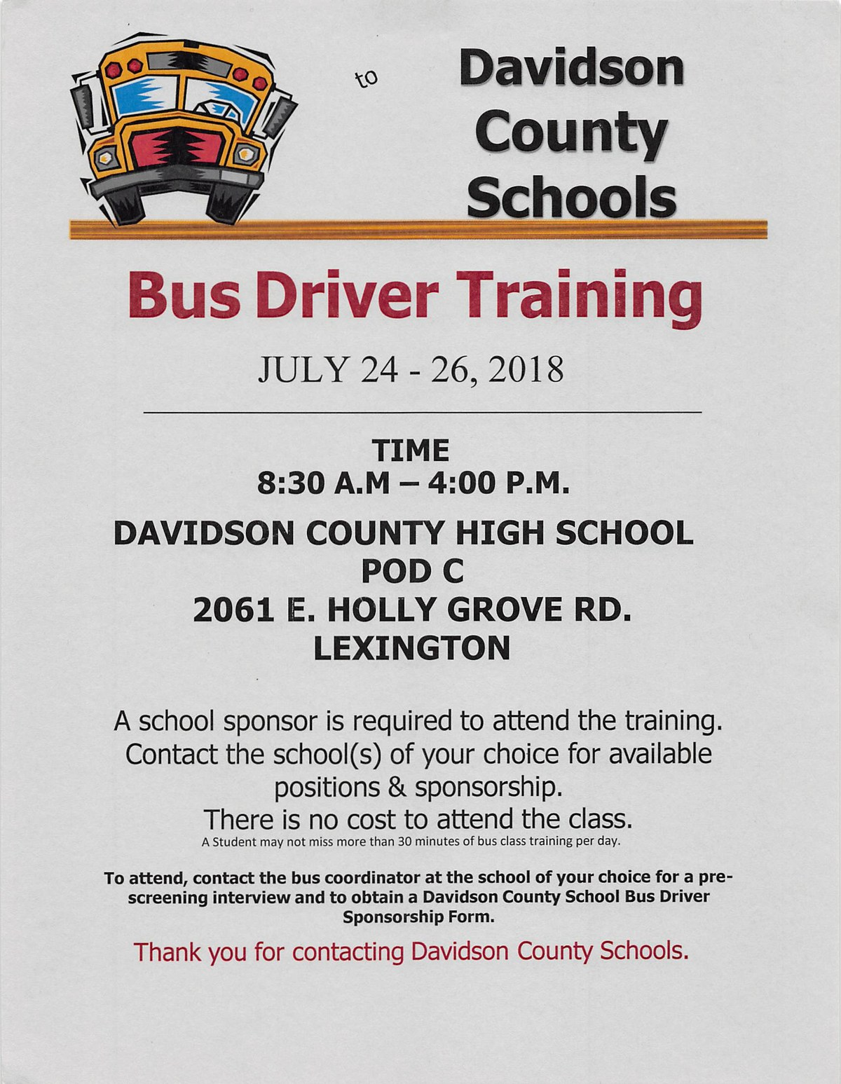 Bus Driver Training Information