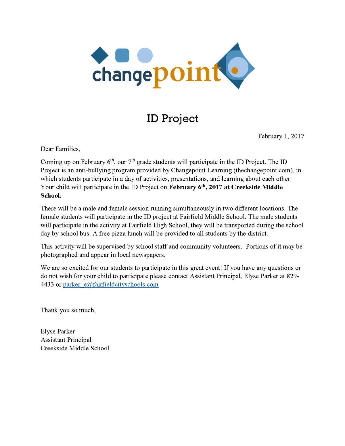 Image of the letter that will be sent home to parents regarding their child's participation in the ID Project, an anti-bullying program on Feb. 6. a pdf version of the letter is in the file list at the bottom of this page.