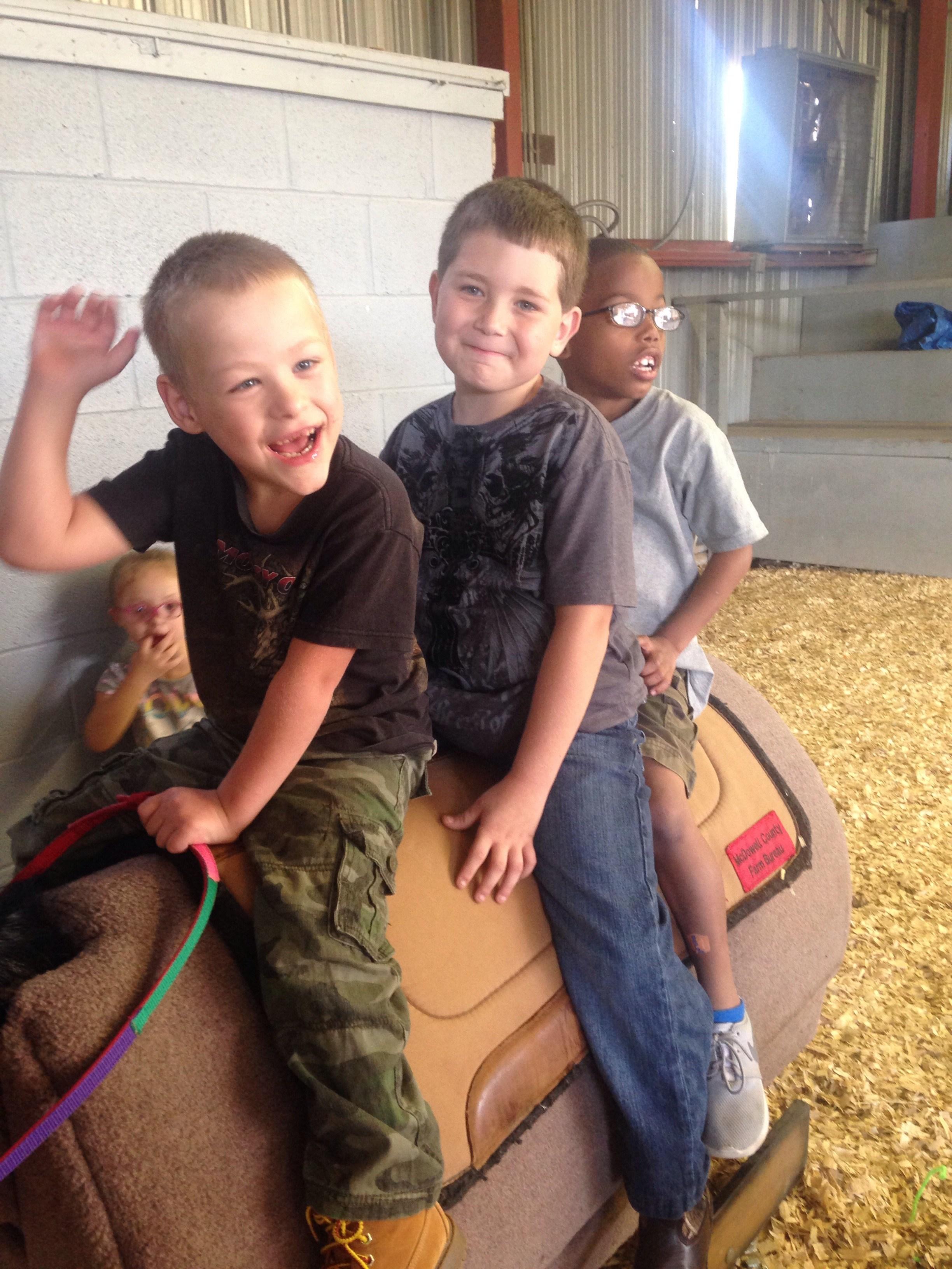 Happy students at the barn