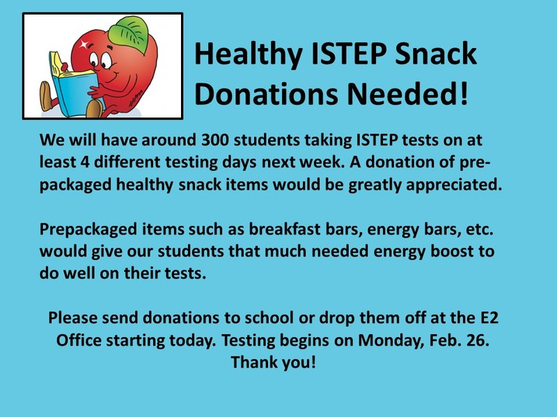 Healthy ISTEP Snack Donations Needed Right Away! Thumbnail Image