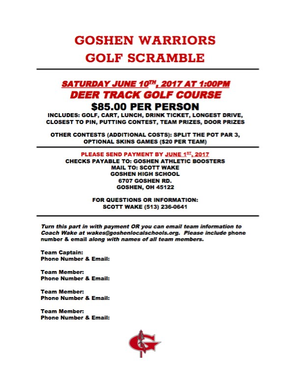 Booster Club Golf Outing Info