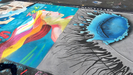 Colorful example of student chalk art featured at festival.
